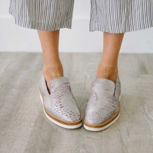 Free People snake eye silver metallic loafers